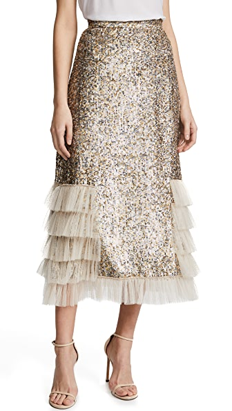 Rodarte Metallic Sequin Ruffle Skirt In Gold/Silver
