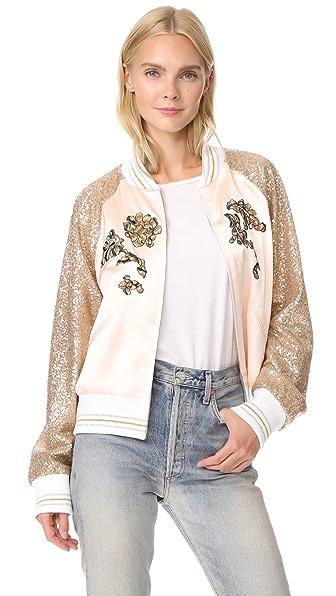 Rodarte Rodarte Los Angeles Sequin Bomber Jacket In Gold/White