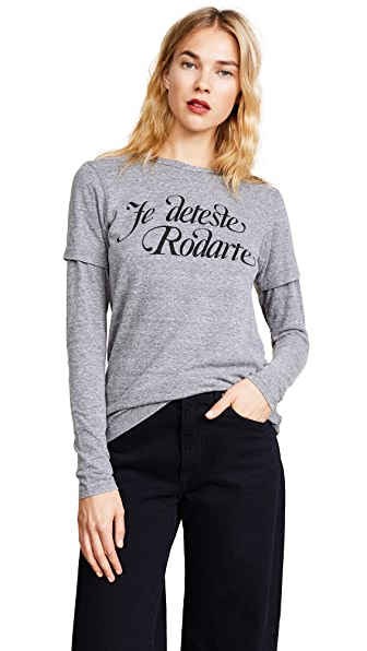 Rodarte Love / Hate Rodarte Tee In Heather Grey/Black