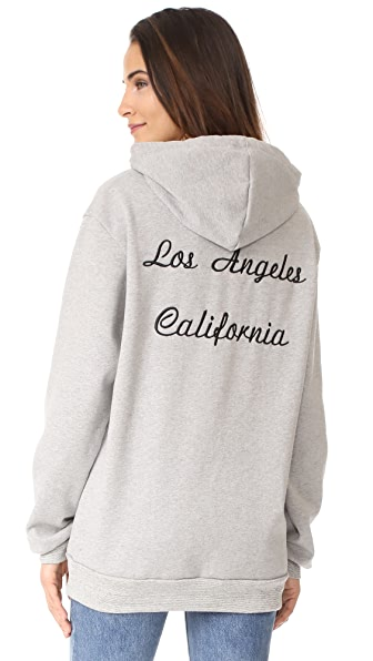 Rodarte Los Angeles Oversized Embroidery Hoodie In Grey/Black