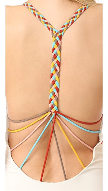 Red Carter Friendship Bracelet Plunge Mio Swimsuit