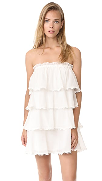 Red Carter Candy Ruffle Tiered Dress - White