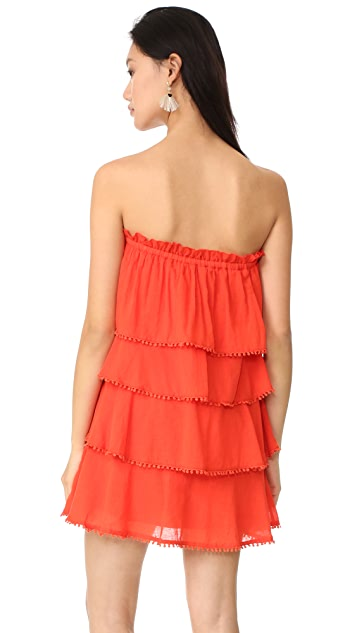 Red Carter Candy Ruffle Tiered Dress