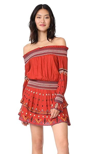 Red Carter Calla Dress - Terracotta/Black