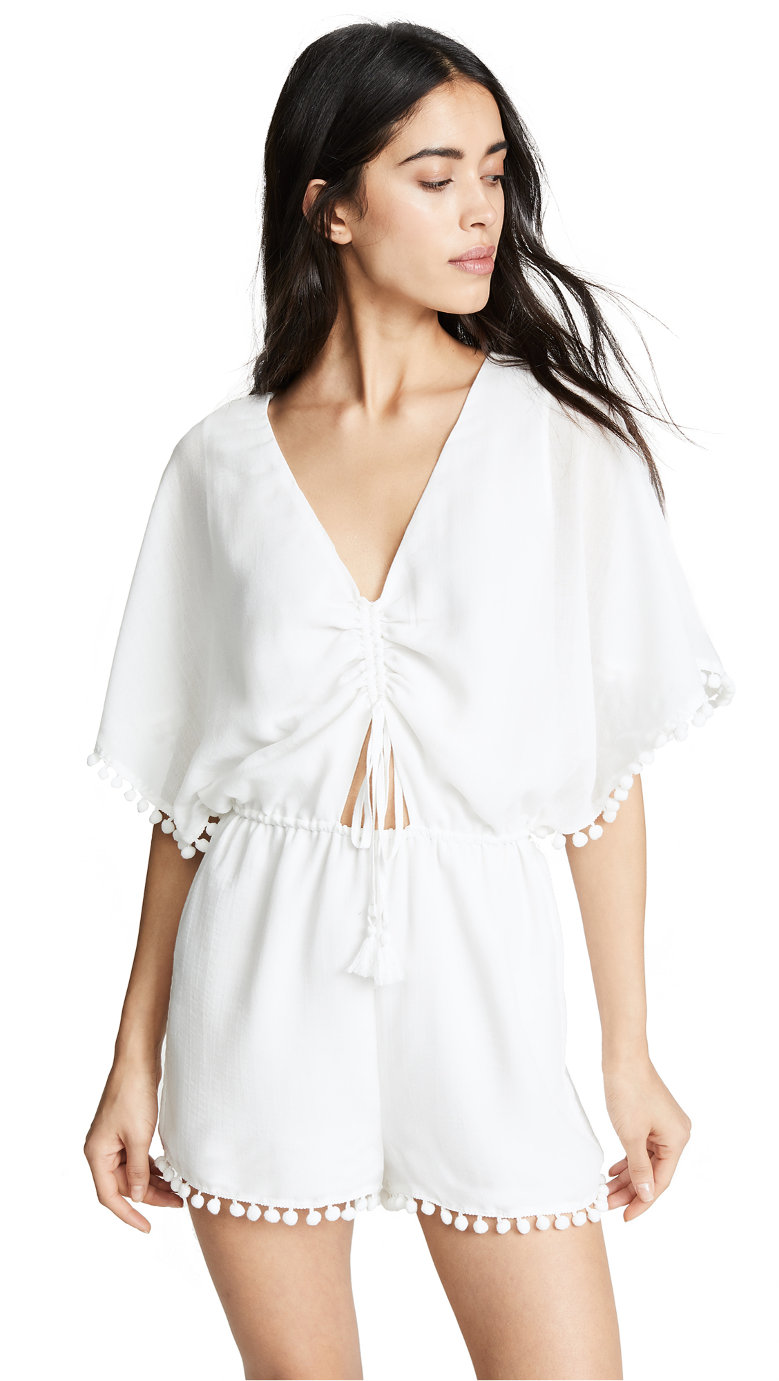 Isabella Tie-Front Pompom Romper in Ivory