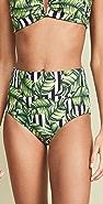 Red Carter Havana Leaf High Waist Bikini Bottoms