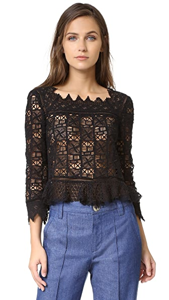 Rebecca Taylor Long Sleeve Crochet Lace Top - Black at Shopbop