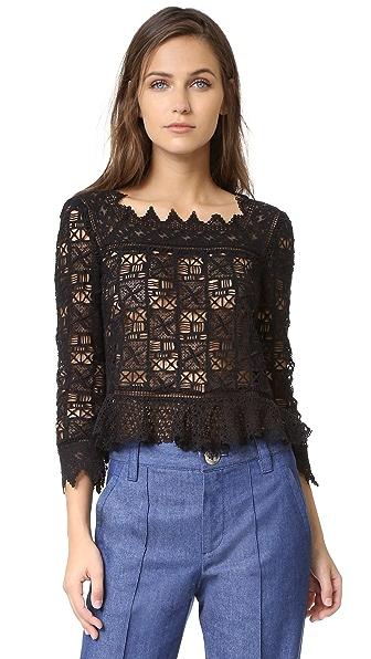 Rebecca Taylor Long Sleeve Crochet Lace Top - Black at Shopbop