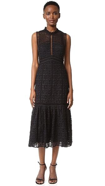 Rebecca Taylor Sleeveless Lace Crochet Dress - Black at Shopbop