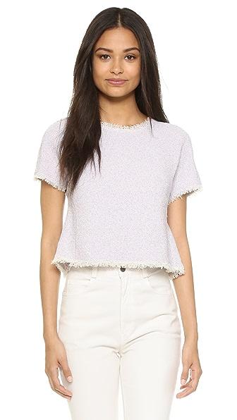 Rebecca Taylor Short Sleeve Tweed Top - Lilac at Shopbop