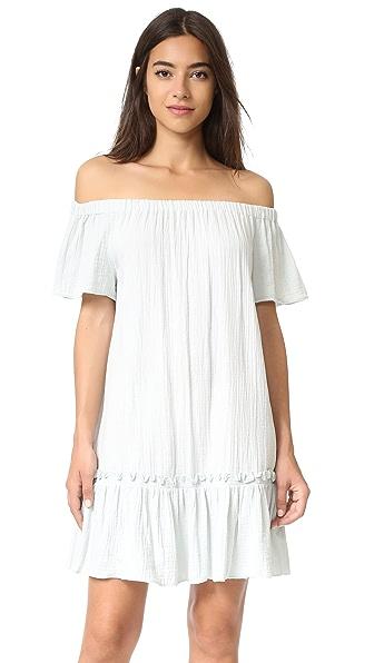 Rebecca Taylor Off Shoulder Gauze Dress - Sweet Mint at Shopbop