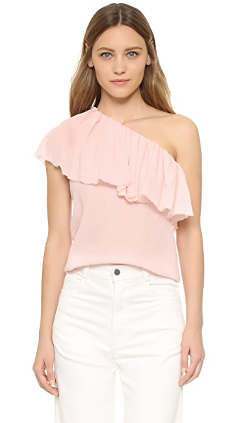 Rebecca Taylor One Shoulder Gauze Top