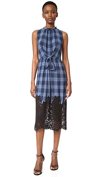 Rebecca Taylor Sleeveless Plaid Dress with Lace - Violet Stone Combo