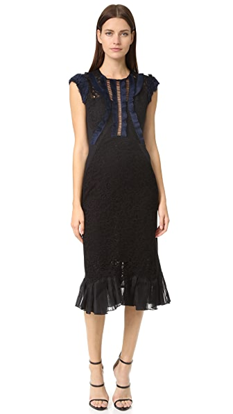 Rebecca Taylor Sleeveless Vien Lace Dress - Black/Navy