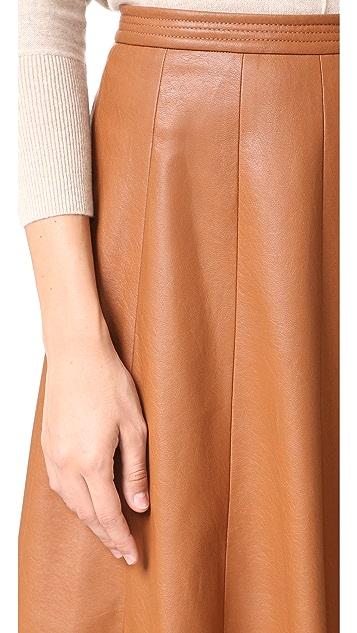 Rebecca Taylor Vegan Leather Midi Skirt