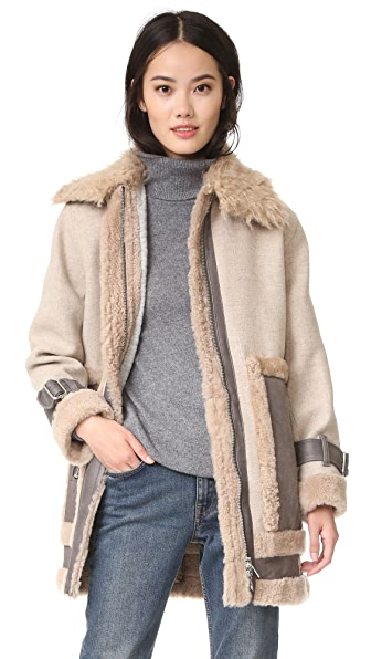 Rebecca Taylor Shearling Mixed Coat