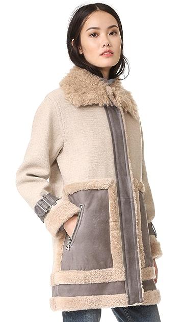 Rebecca Taylor Shearling Mixed Coat