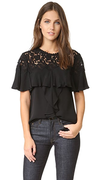 Rebecca Taylor Short Sleeve Georgette & Lace Top