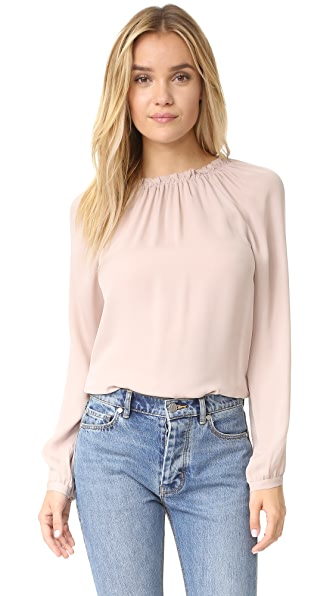 Rebecca Taylor Long Sleeve Georgette Ruffle Top
