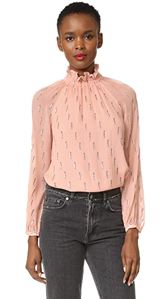Rebecca Taylor Long Sleeve Metallic Top