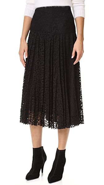 Rebecca Taylor Pleated Lace Skirt - Black