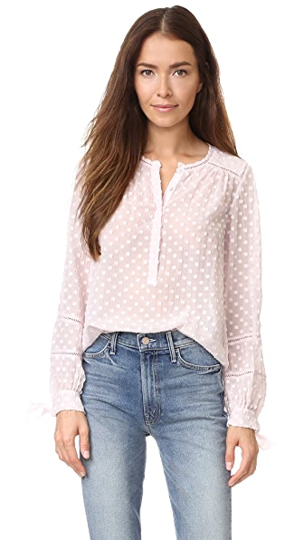 Rebecca Taylor Long Sleeve Box Clip Blouse - Pale Blush