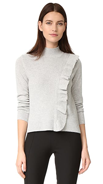 Rebecca Taylor Diagonal Ruffle Sweater - Grey