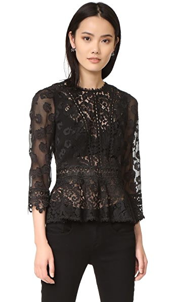 Rebecca Taylor Long Sleeve Lace Mix Top