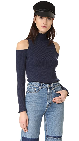Rebecca Taylor Open Shoulder Ribbed Pullover