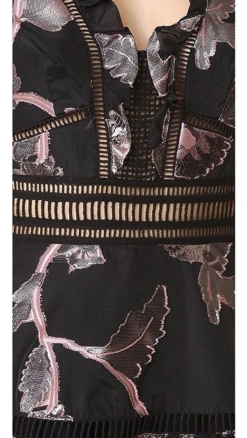 Rebecca Taylor Sleeveless Metallic V Neck Dress