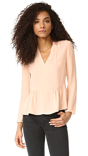 Rebecca Taylor Long Sleeve Georgette Peplum Top