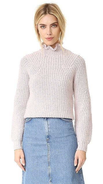 Rebecca Taylor Ruffle Turtleneck Pullover