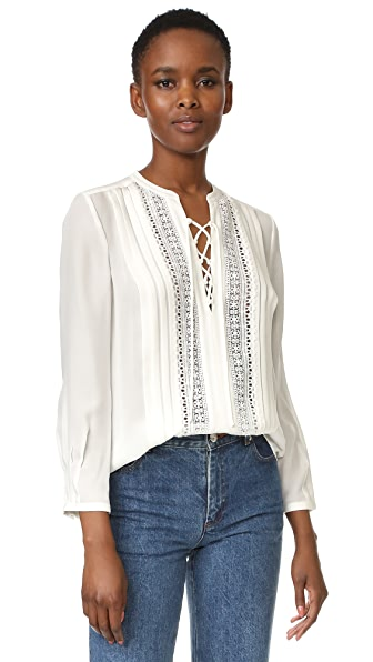 Rebecca Taylor Long Sleeve Silk Top - Chalk/Chalk
