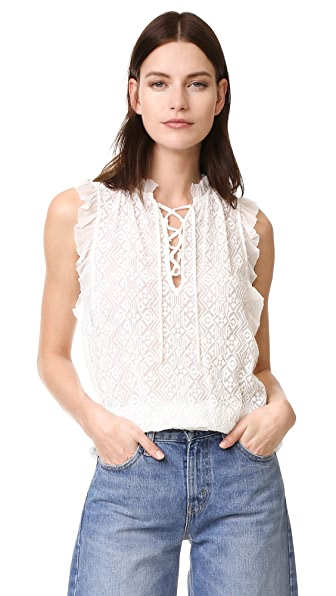 Rebecca Taylor Sleeveless Florence Embroidered Top - Chalk