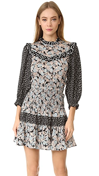 Rebecca Taylor Bijou Patch Dress - Glacier Combo