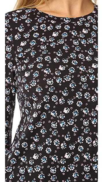 Rebecca Taylor Midnight Floral Long Sleeve Tee