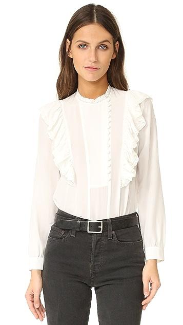 Rebecca Taylor Long Sleeve Silk Ruffle Top