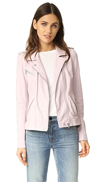 Rebecca Taylor Washed Leather Jacket - Lavender