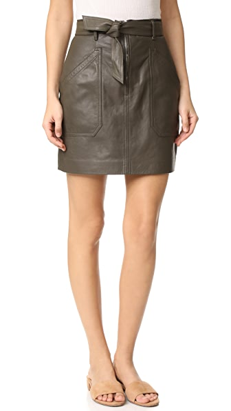 Rebecca Taylor Tumbled Leather Skirt