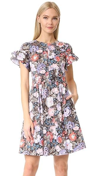 Rebecca Taylor Short Sleeve Penelope Ruffle Dress In Coal Combo