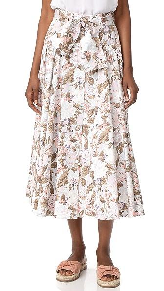 Rebecca Taylor Penelope Midi Skirt In Sky Blue Combo