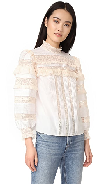 Rebecca Taylor Long Sleeve Poplin Lace Top