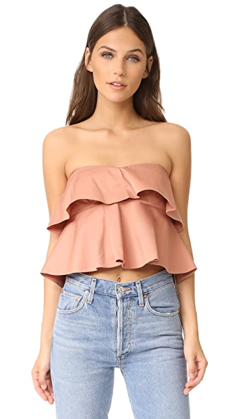 Rebecca Taylor Strapless Ruffle Top In Nude Glow