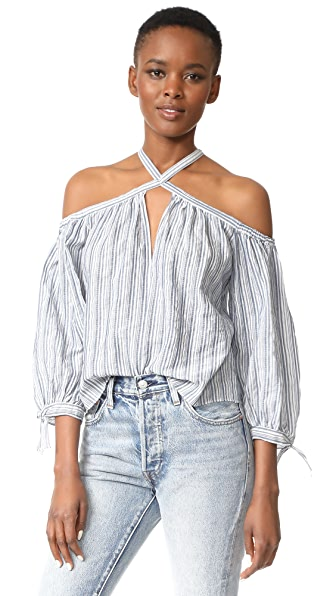 Rebecca Taylor Off Shoulder Stripe Top - Blue/Milk