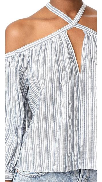 Rebecca Taylor Off Shoulder Stripe Top
