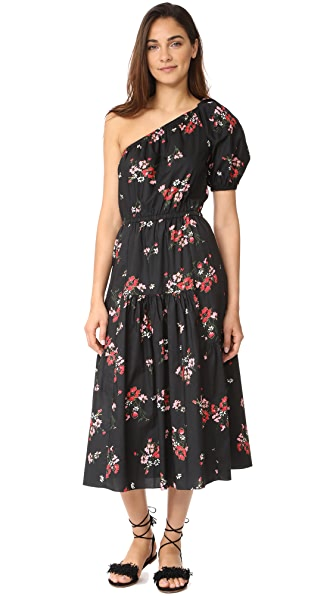 Rebecca Taylor One Shoulder Marguerite Pop Dress - Black