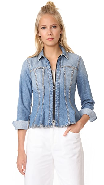 Rebecca Taylor Denim Peplum Jacket - Vintage Blue Wash