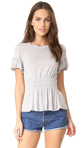 Rebecca Taylor Short Sleeve Ruched Jersey Top - Grey Melange