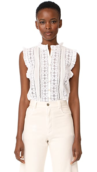 Rebecca Taylor Sleeveless Voile & Lace Top In Milk