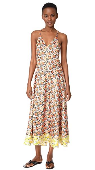 Rebecca Taylor Sleeveless Moonlight Maxi Dress - Orange/Lilac